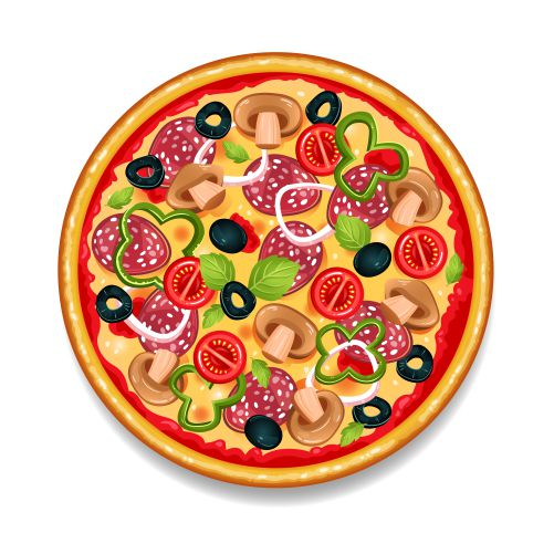 colorful round tasty pizza 1