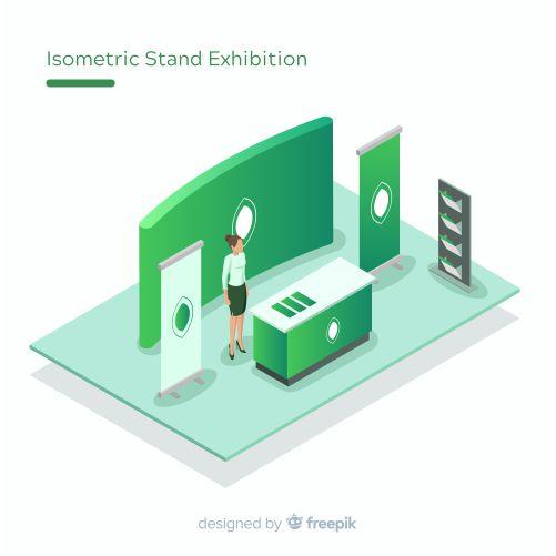 creative isometric stand exhibition design 1