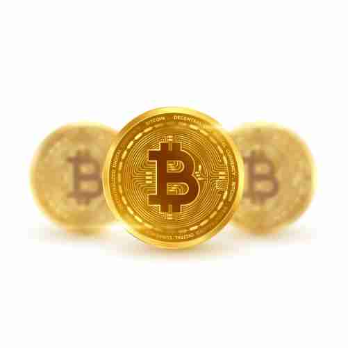 cryptocurrency bitcoin golden coins isolated white 1