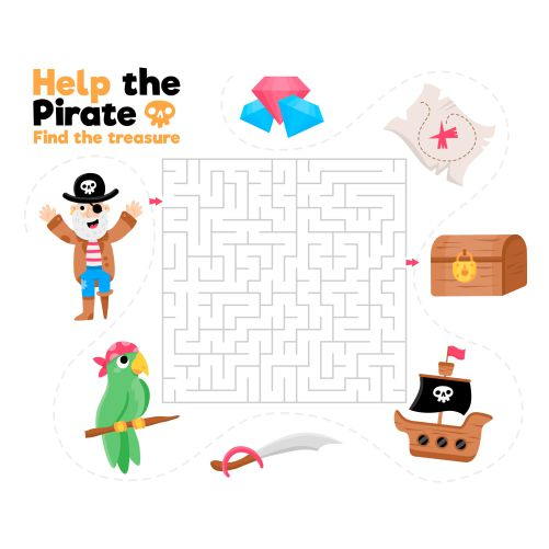 cute maze kids with pirate elements 1
