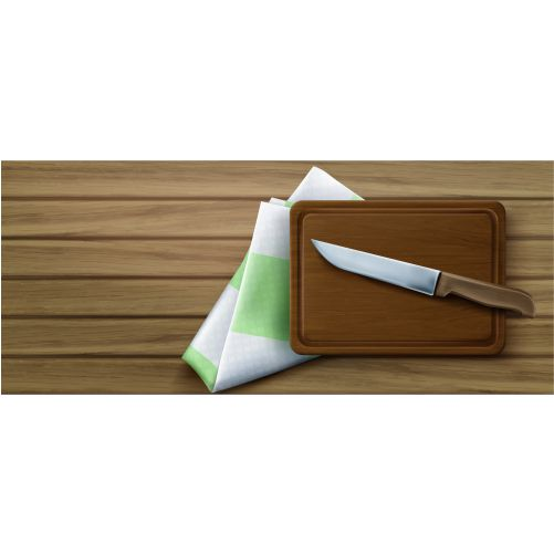 cutting board knife tablecloth wooden kitchen table 1