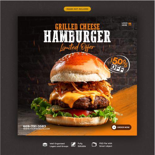 delicious burger and food menu social media banner template 1