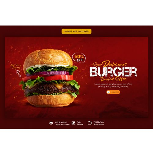 delicious burger food menu web banner template 1