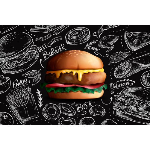 delicious realistic burger on chalkboard background 1