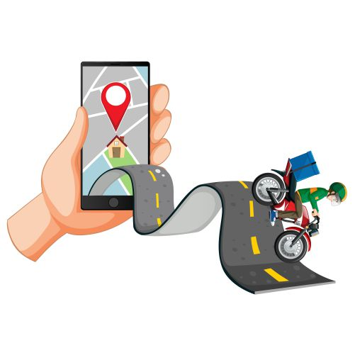 delivery man riding road with hand using smartphone 1