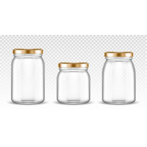 empty glass jars with different shapes with gold lids isolated 1