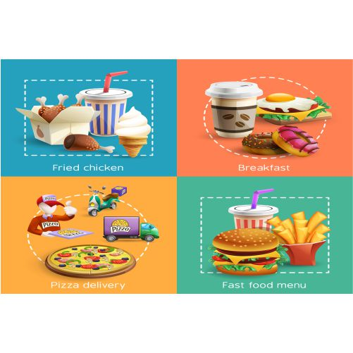 fastfood 4 cartoon icons square composition 1
