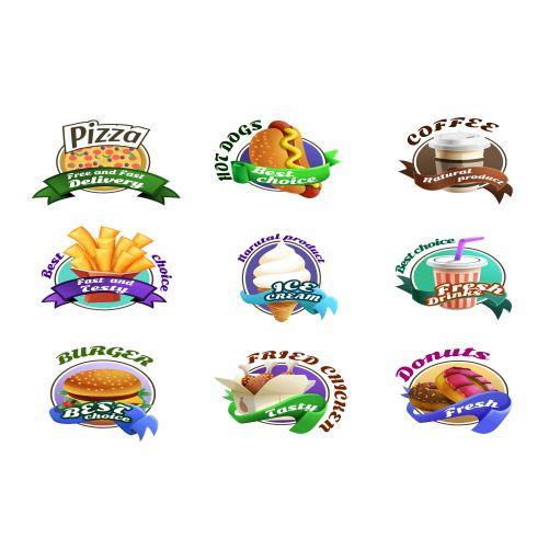 fastfood cartoon colorful emblems set 1