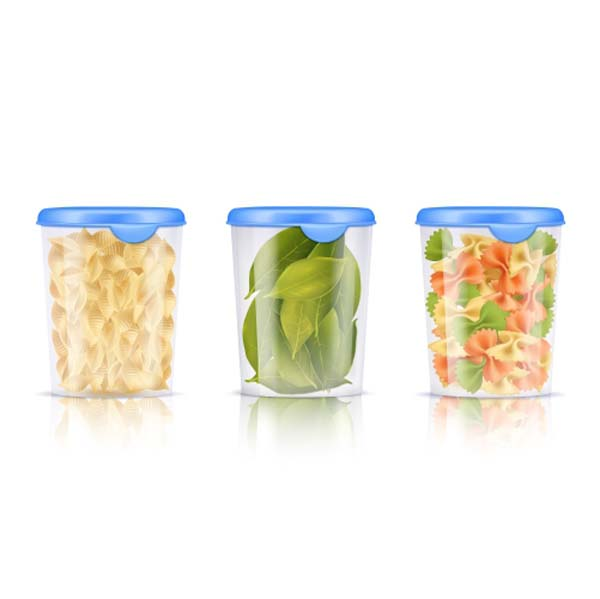 filled plastic food containers icon set 1