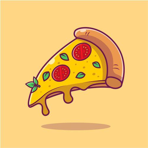 flying slice of pizza cartoon vector illustration fast food 1