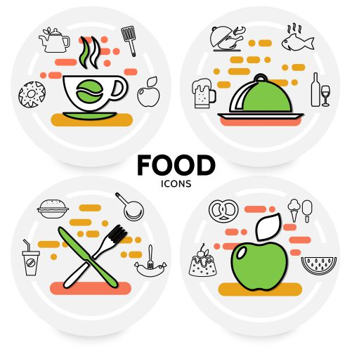 food line icons concept with coffee beer wine fish 1