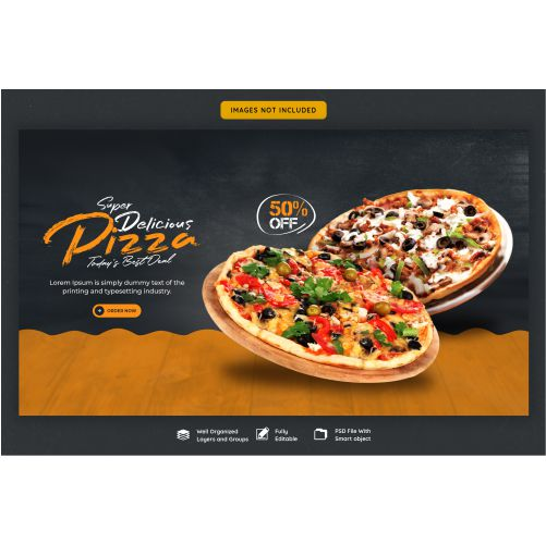 food menu delicious pizza web banner template 1