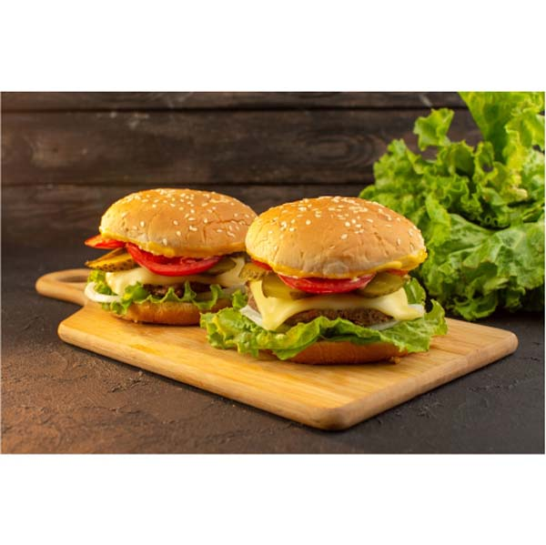 front view chicken burger with cheese green salad wooden desk sandwich fast food meal food 1