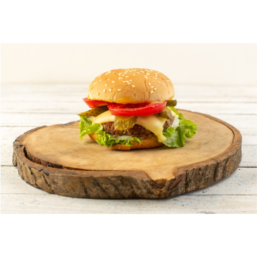 front view chicken burger with cheese green salad wooden desk sandwich fast food meal food201
