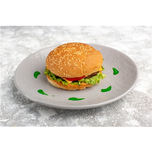 front view chicken sandwich with green salad vegetables inside plate light table 1