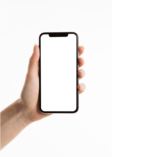 front view hand holding smartphone 1