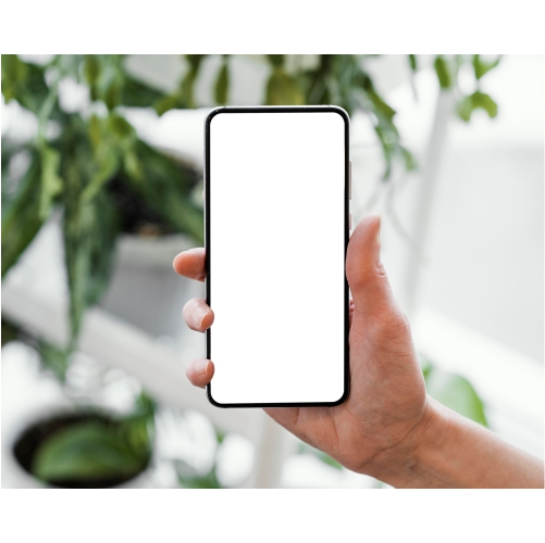 front view woman holding smartphone with copy space 1
