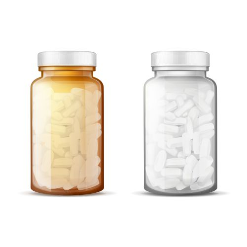 glass bottles with pills realistic 1