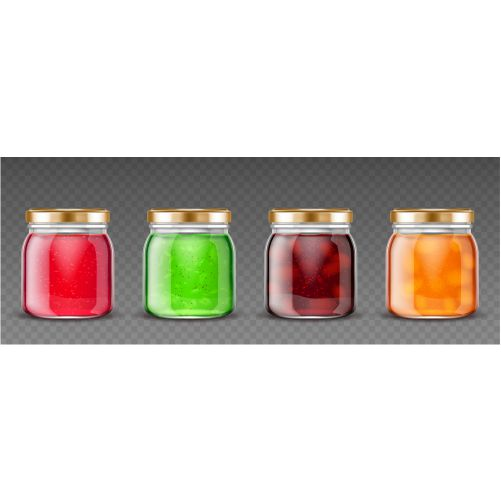 glass containers with fruit jelly 1
