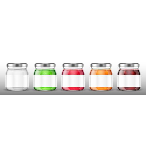 glass jars with jam and blank label 1