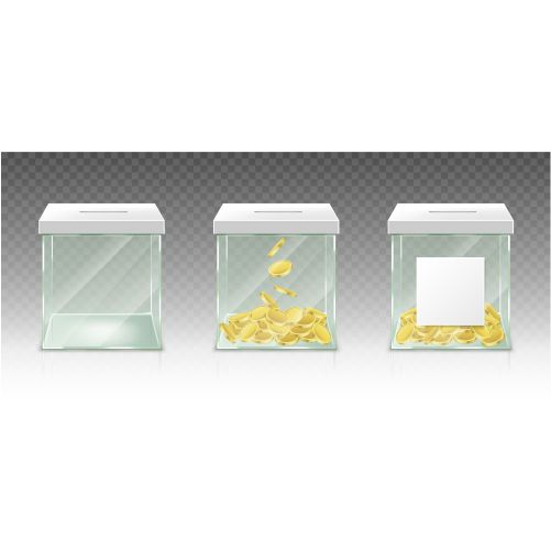 glass money box tips savings donations isolated tr 1