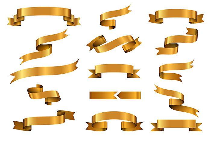 gold glossy ribbon vector banners set ribbon label gold glossy ribbon curle 1