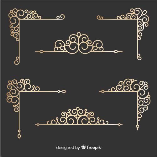 golden border ornaments set 1