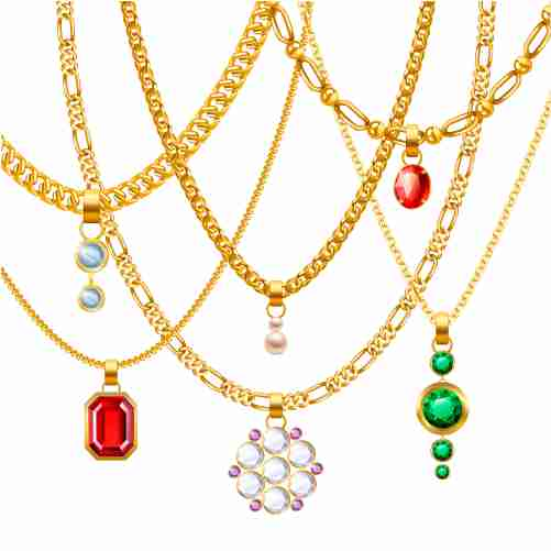 golden jewelry chains set 1