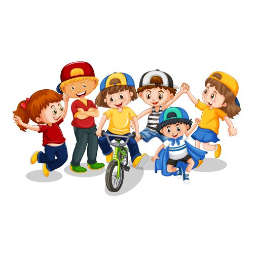 group young children cartoon character white background 1
