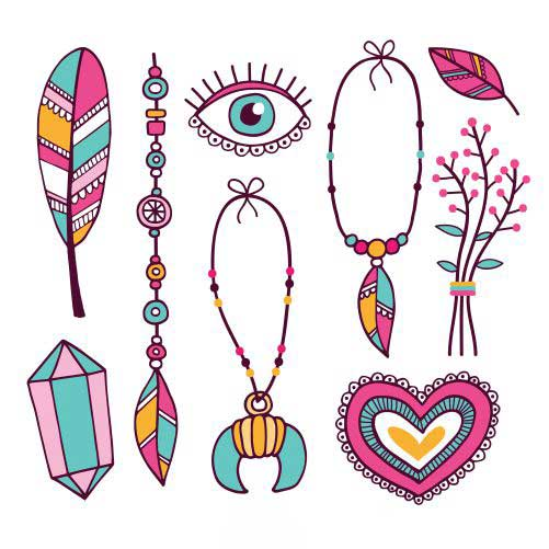 hand drawn boho element collection 1