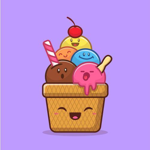 happy cute ice cream cartoon vector illustration food ice cream 1