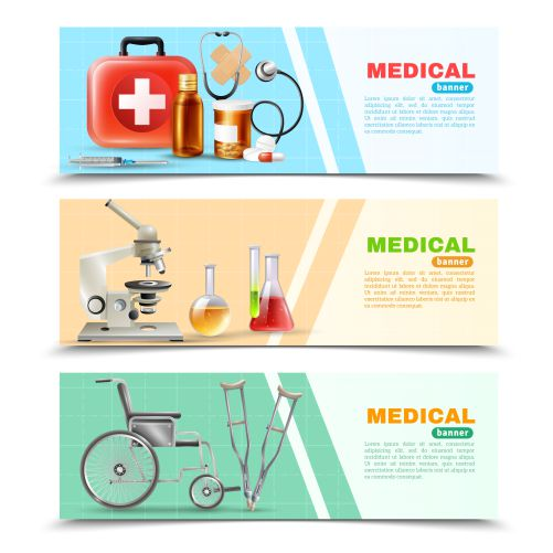 healthcare flat medical horizontal banners set 1