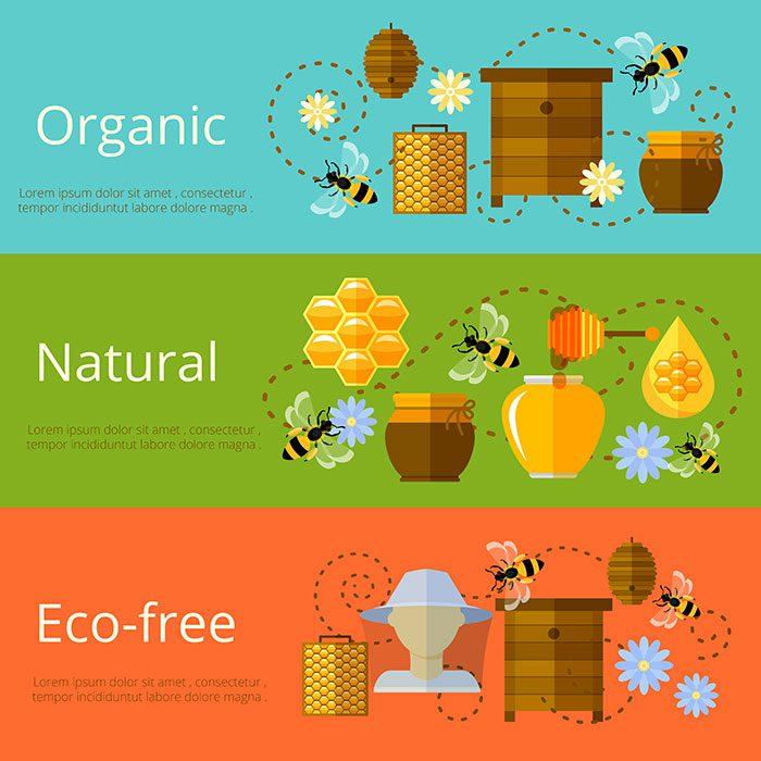 honey beekeeping natural eco sugar banners 1