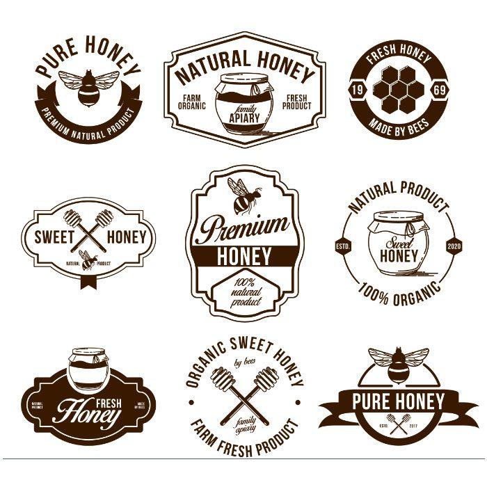 honey farm flat labels set 1