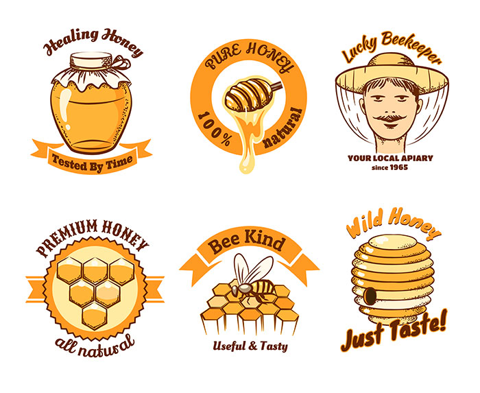 honey labels beekeeping logo food sweet insect cell honeycomb beeswax comb wax 1