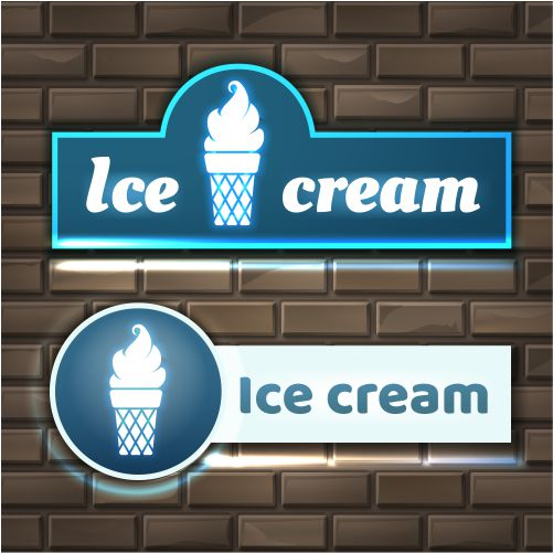 illustration ice cream neon sign boards brick wall 1