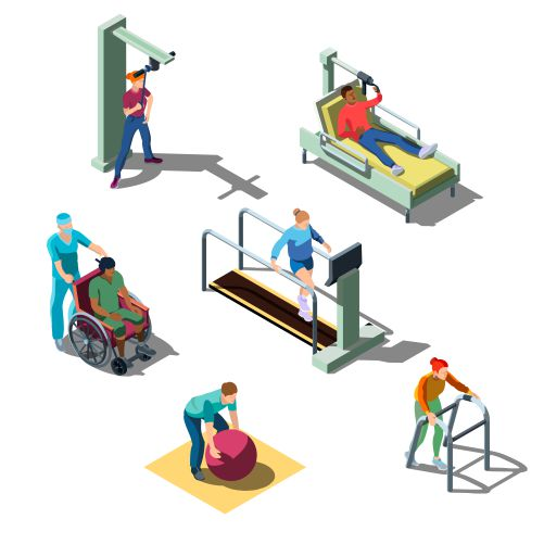 isometric rehabilitation medical clinic with human characters people with problems 1