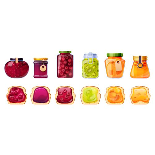 jam jars bread toasts glass containers with fruit jelly peach apricot 1