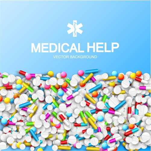 light pharmacy template with colorful capsules pills tablets remedies blue illustration 1