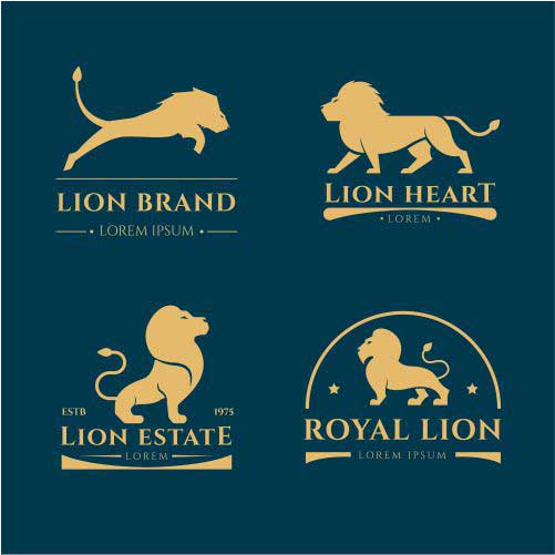 lion logo collection with golden style 1