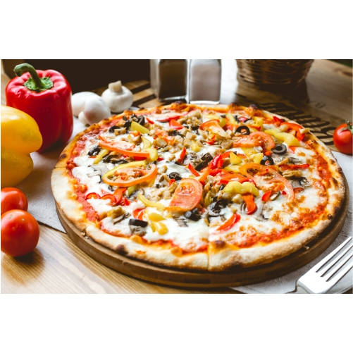 mix pizza chicken tomato bell pepper olives mushroom side view 1