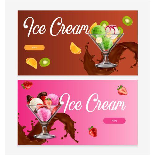 natural fruit ice cream banner set 1