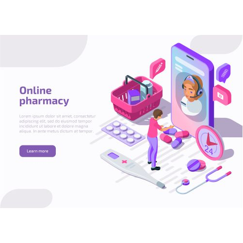online pharmacy isometric banner with shopping bag tablets apothecary 1