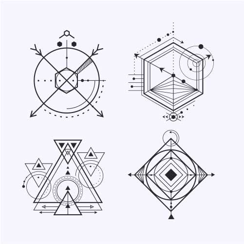 pack four tattoos with geometric shapes 1