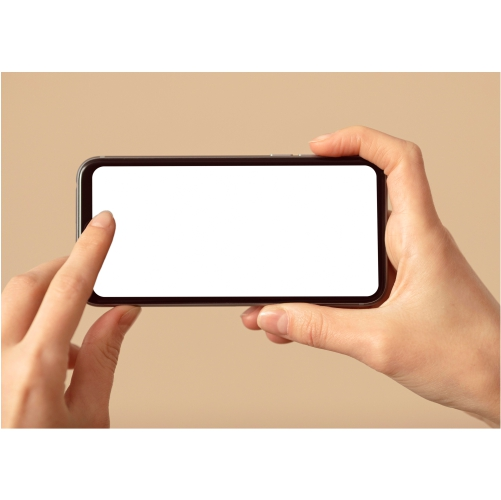 person holding mobile phone with white screen 1