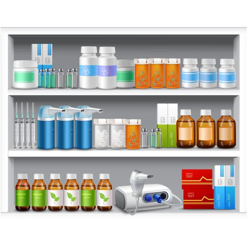 pharmacy shelves realistic 1