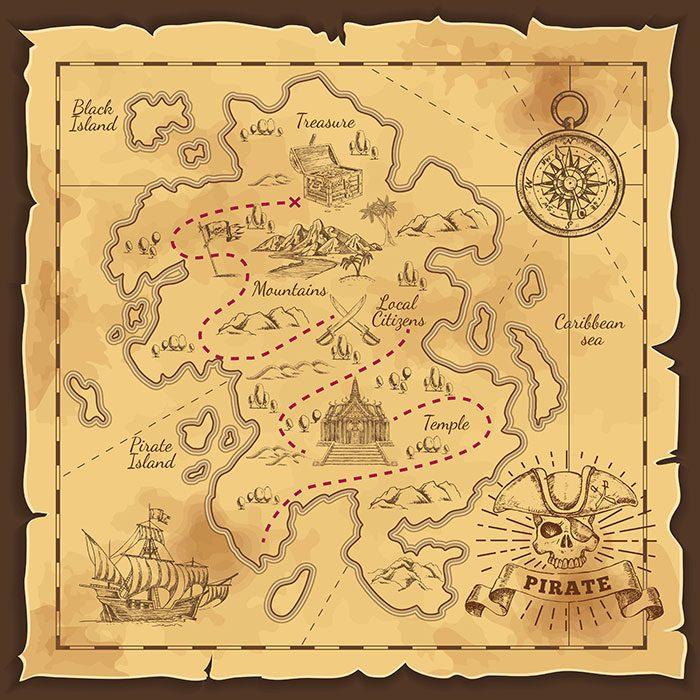 pirate treasure map hand drawn illustration 1