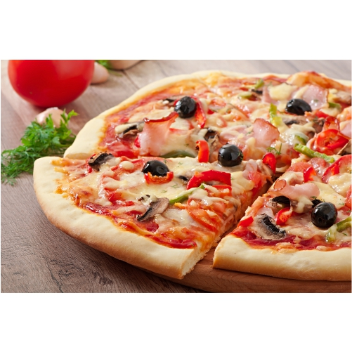pizza with ham mushrooms olives 1