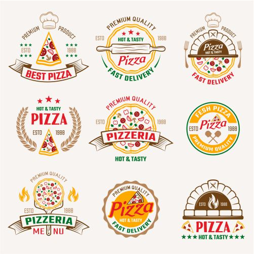 pizzeria colored emblems 1