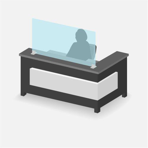 protective plexiglass shield reception desk 1